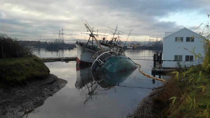 Two derelict vessels, the Helena Star and the Golden West, began sinking early Thursday in the Hylebos waterway near Tacoma. State and federal agencies must try to contain any leaking oil or other pollutants. The vessels can also pose navigation hazards.