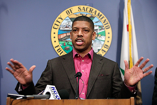 Mayor Kevin Johnson speaks during a news conference in Sacramento, Calif. last Wednesday.