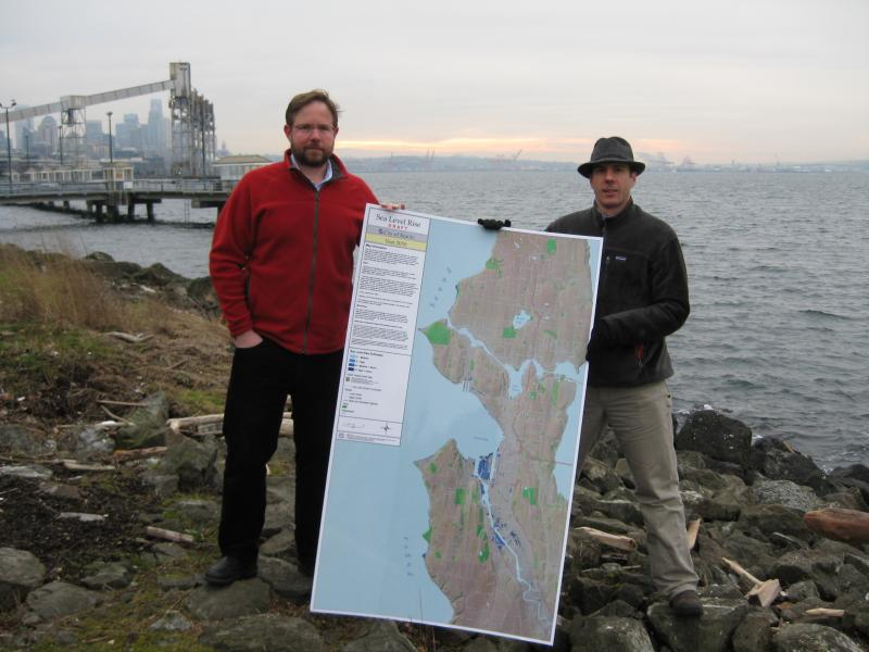 Department Manager Paul Fleming and Meteorologist James Rufo-Hill, of Seattle Public Utility's Climate and Sustainability Group, created the new map showing areas that are at risk for flooding during high tides and storms.