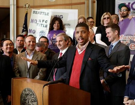Sacramento Mayor Kevin Johnson on Tuesday, introducing the first part of his plan to keep the Kings in Sacramento.  The move came a day after the Maloof family signed an agreement to sell the Kings to a Seattle group led by investor Chris Hansen.