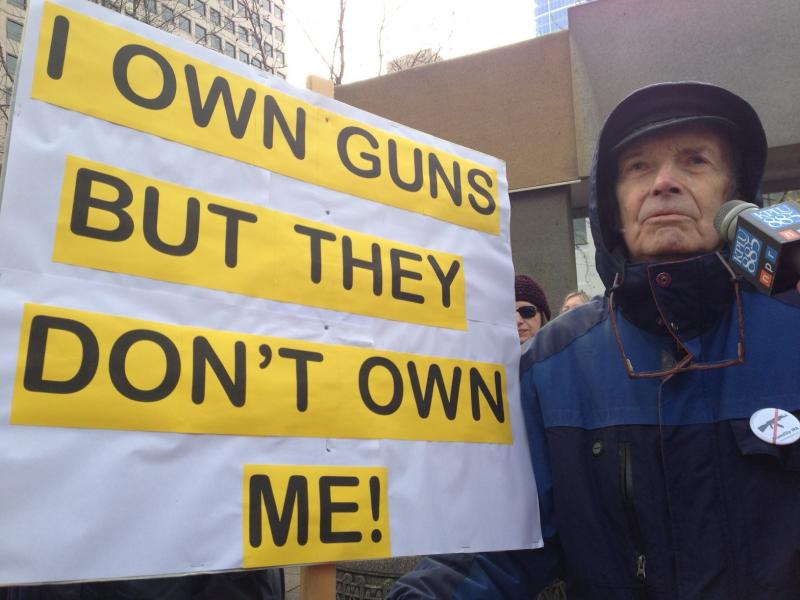 Retired minister and gun owner Jack Severns participated in the rally to ban assault weapons.