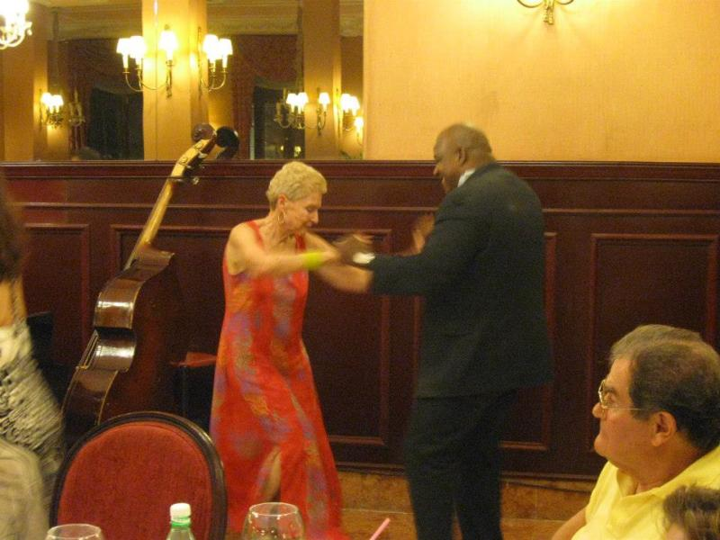 Bass player dances with Nancy