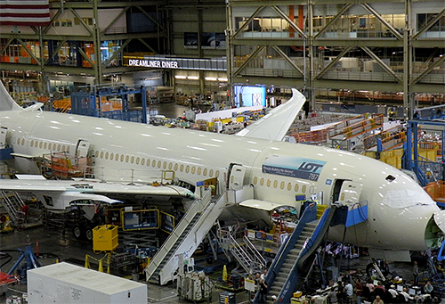 A Boeing 787 under construction in the Everett plant last September.