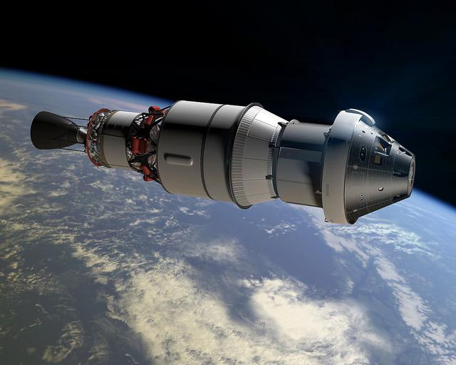 An artist's rendering of the Orion module and upper rocket stage.