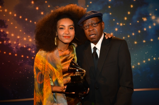 Esperanza Spalding and Thara Memory at the 55th Grammy Awards