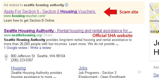 Fraudulent web sites are popping up on Google searches targeting applicants for low-income housing vouchers