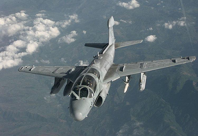 The EA-6B Prowler, used by the Navy for electronic attack.
