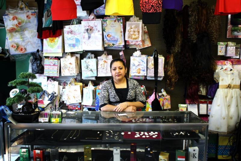 Minerva Alvarado owns Tienda el Campesino, which sells clothes for special occasions.