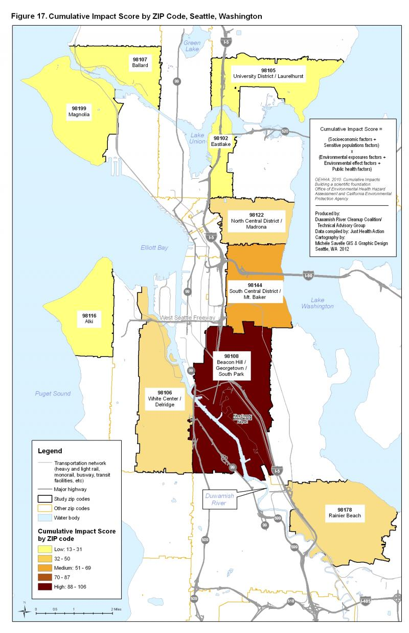 This map shows the cumulative health impact scores for 10 of Seattle's zip codes.