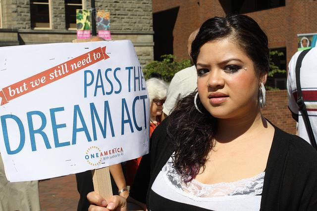 Xochitl Rojas joins the Keeping Washington Families Together Bus Tour this week with her father. She has deferred action status but wants comprehensive immigration reform.