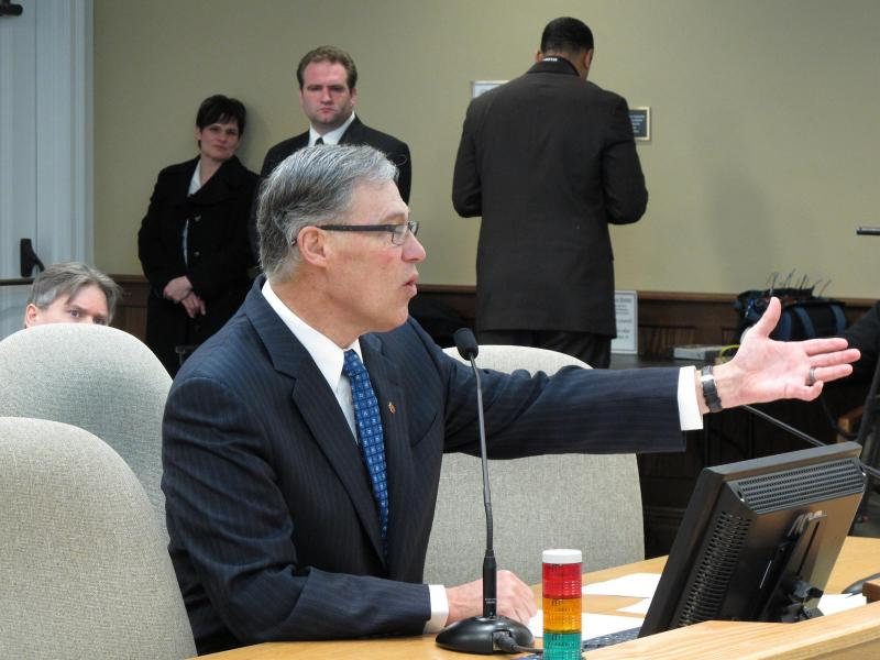 Washington Gov. Jay Inslee testifies before the House Environment Committee on Tuesday, March 5, 2013 in Olympia, Wash.
