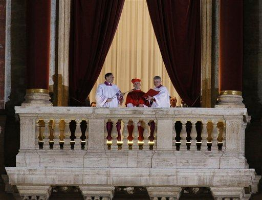Cardinal Jean-Louis Tauran announces the newly elected Pope Jorge Mario Bergoglio, who took the name of Pope Francis, elected on Wednesday, March 13, 2013 the 266th pontiff of the Roman Catholic Church from the central balcony of St. Peter's Basilica.