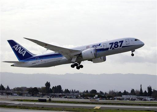 All Nippon Airways' Boeing 787 Dreamliner takes off for the company's first non-stop flight from San Jose to Tokyo at the San Jose International Airport in San Jose, Calif. on Friday, Jan. 11, 2013.
