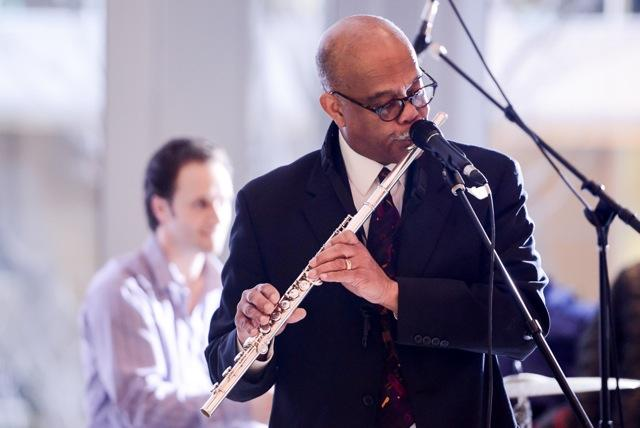 Bernie Jacobs, flute at Seattle Art Museum (drummer Adam Kessler in bg)