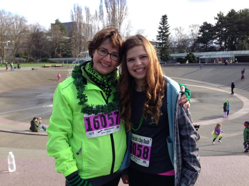 """With a name like mine, I gotta represent!"" says KPLU's own Erin Hennessey, seen here with her daughter, Hattie Lewis."