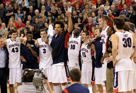 Gonzaga celebrates after winning the West Coast Conference Championship Saturday, March 2, in Spokane. Gonzaga beat Portland 81-52. They were named No.1 in the nation Monday, with a record of 29-2.