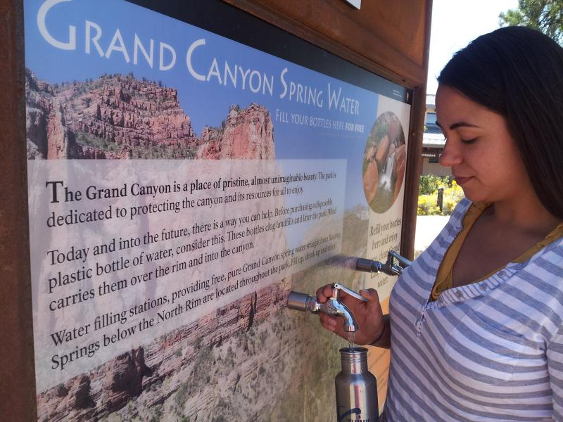 Grand Canyon National Park is one of the most recent federal properties to ban bottled water sales. Before doing so, they had to install a siuffient number of filling stations like this one.