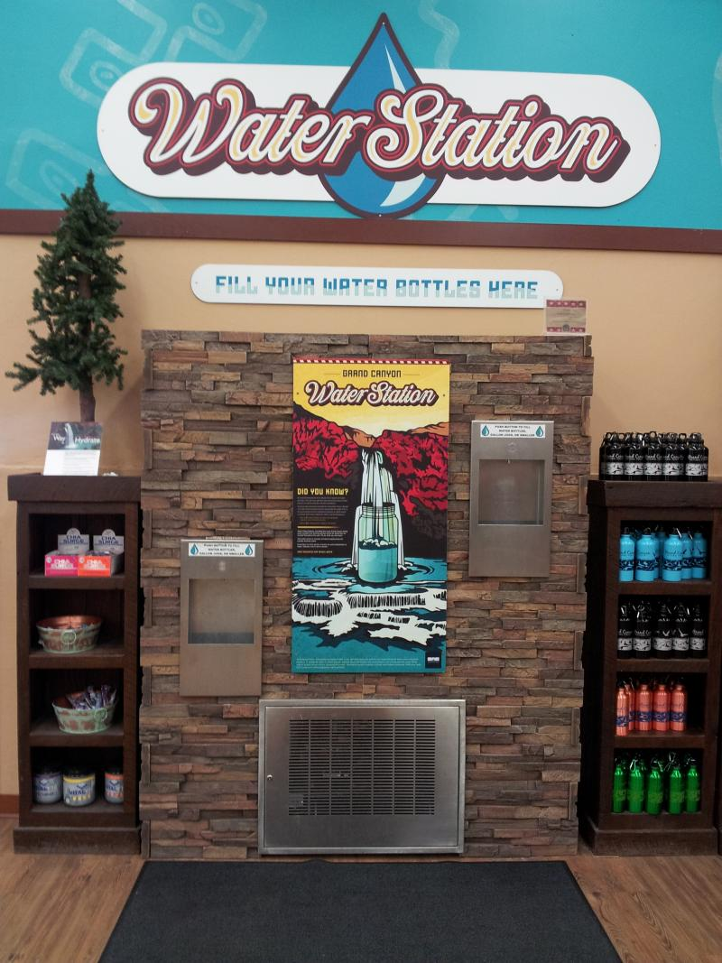 This kind of indoor water station works well in areas where weather is a concern.