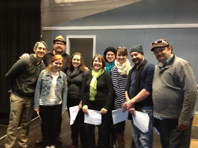 Cast, with director Wayne Rawley and playwright Jenna Levin, of The Inside Scoop