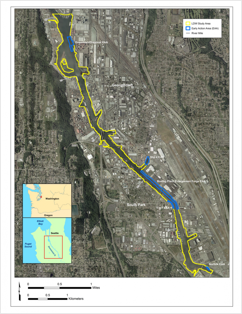A view of the areas studied by the EPA on Seattle's Lower Duwamish Waterway, which became a Superfund cleanup site in 2001.