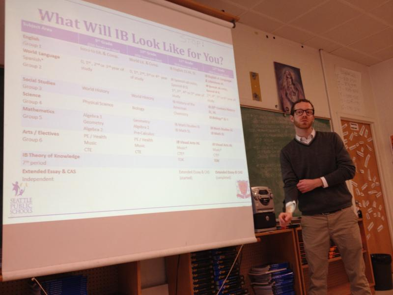 Rainier Beach High School IB coordinator Colin Pierce explains the program to sophomores.
