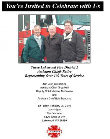 This undated retirement invitation provided by West Pierce Fire & Rescue, in response to a public records request shows Greg Hull, Bob Bronoske and Michael McGovern.