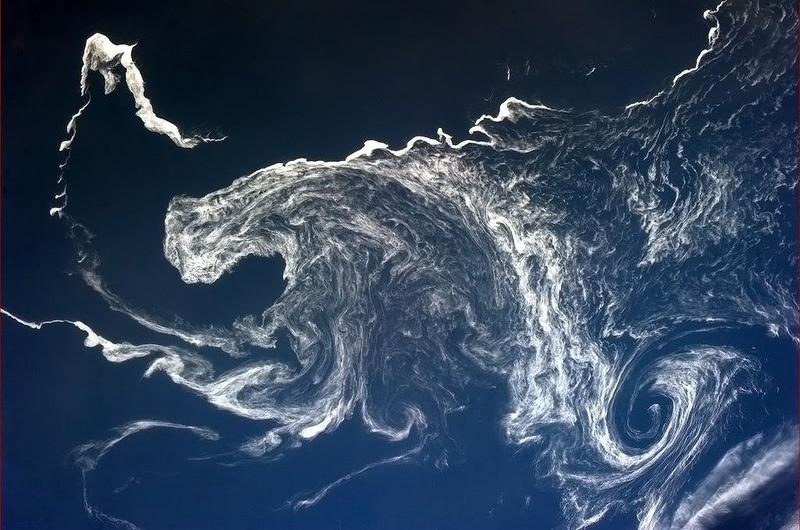 """Psychedelic ice swirls off the North Japan coast."""