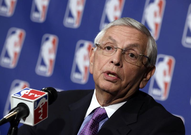 NBA Commissioner David Stern speaks after meetings Wednesday, April 3, 2013, in New York regarding the the possible relocation of the Sacramento Kings basketball team to Seattle.