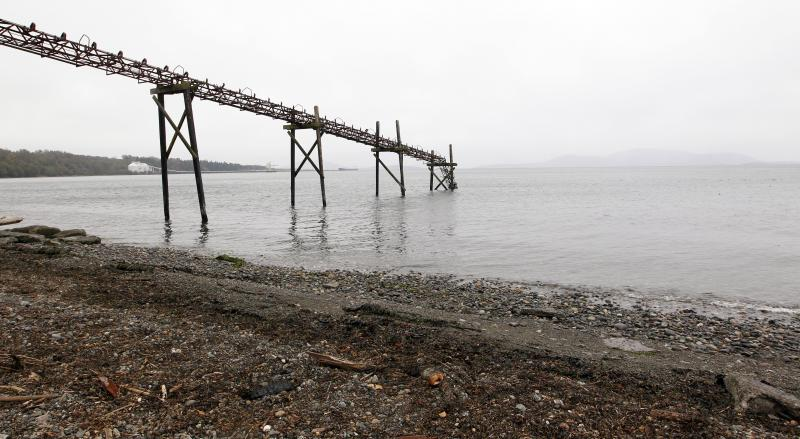 In this photo taken Oct. 23, 2012, a dilapidated structure is seen jutting out into the Strait of Georgia along the beach just south of the location of a proposed coal exporting terminal in Ferndale, Wash., just north of Bellingham, Wash