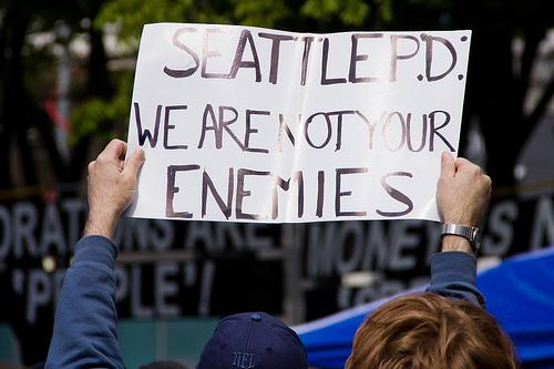 A sign at May Day protests in 2012 in Seattle