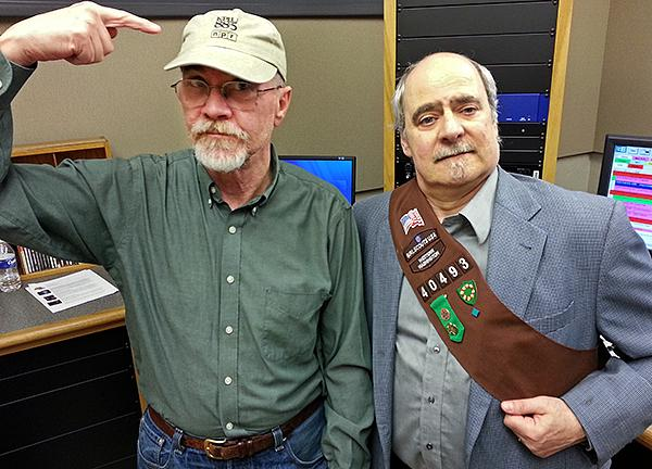 Nick Morrison, donning the KPLU weekender cap, and Dick Stein proudly displaying his new Brownie sash.