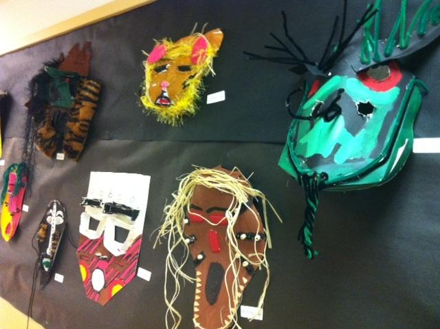 Masks that middle school students made at Madrona K-8 School.