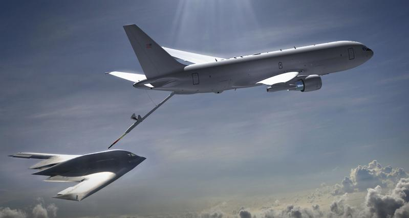 U.S. Air Force graphic by Corey Parrish  Caption: Artist's rendition of a KC-46A tanker refueling a stealth bomber.