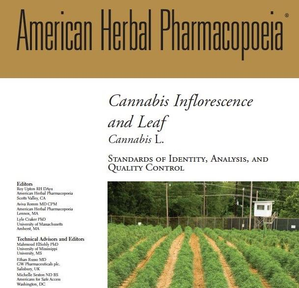 This image shows a part of the cover page of the Cannabis Monograph.