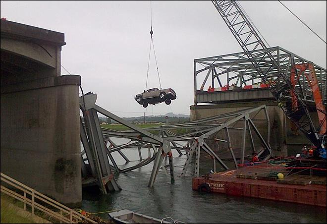 One of the trucks that fell into the Skagit River when the bridge collapsed being removed from the water on May 27, 2013.