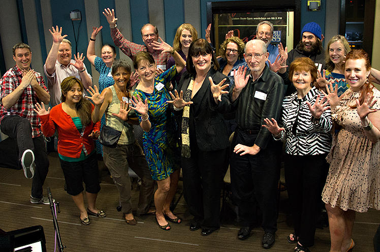 KPLU Leadership Circle members flash their 'jazz hands' with Ann Hampton Callaway after her performance in our studios on May 10, 2013.