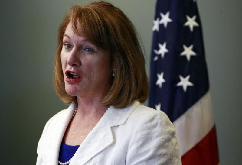 FILE - U.S. Attorney Jenny Durkan speaks at a news conference about the arrest of a Dutch national for a computer hacking conspiracy Monday, June 11, 2012, in Seattle