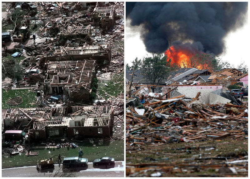This combination of Associated Press photos shows left, a neighborhood in Moore, Okla., in ruins on Tuesday, May 4, 1999, after a tornado flattened many houses and buildings in central Oklahoma, and right, flattened houses in Moore on Monday, May 20, 2013
