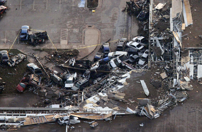 This aerial photo shows the Moore Medical center in Moore, Okla., following a tornado Monday, May 20, 2013.