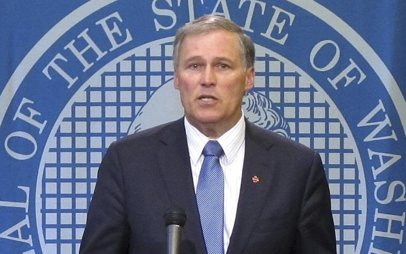 Washington state Gov. Jay Inslee holds a news conference on the first day of the special legislative session, on Monday, May 13, 2013, in Olympia, Wash