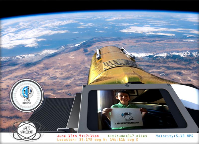 "The ""space selfie:"" donors can get a picture of their face in space (seen here in  an artist's rendering)."