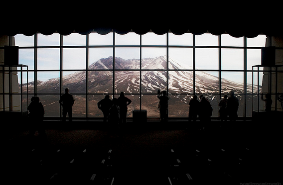 Mount St. Helens is seen from  Johnston's Ridge Observatory.