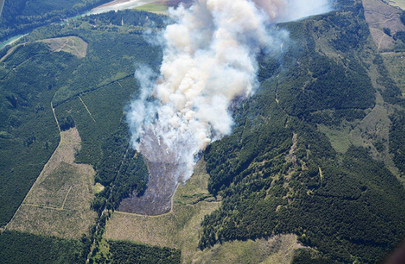 The Dog Mountain fire is seen burning on Monday, May 6, 2013.