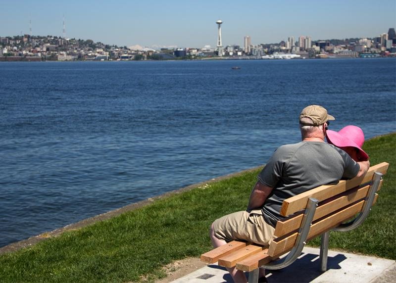 A couple is seen enjoying the weather on Alki Beach on Monday, May 6, 2013.