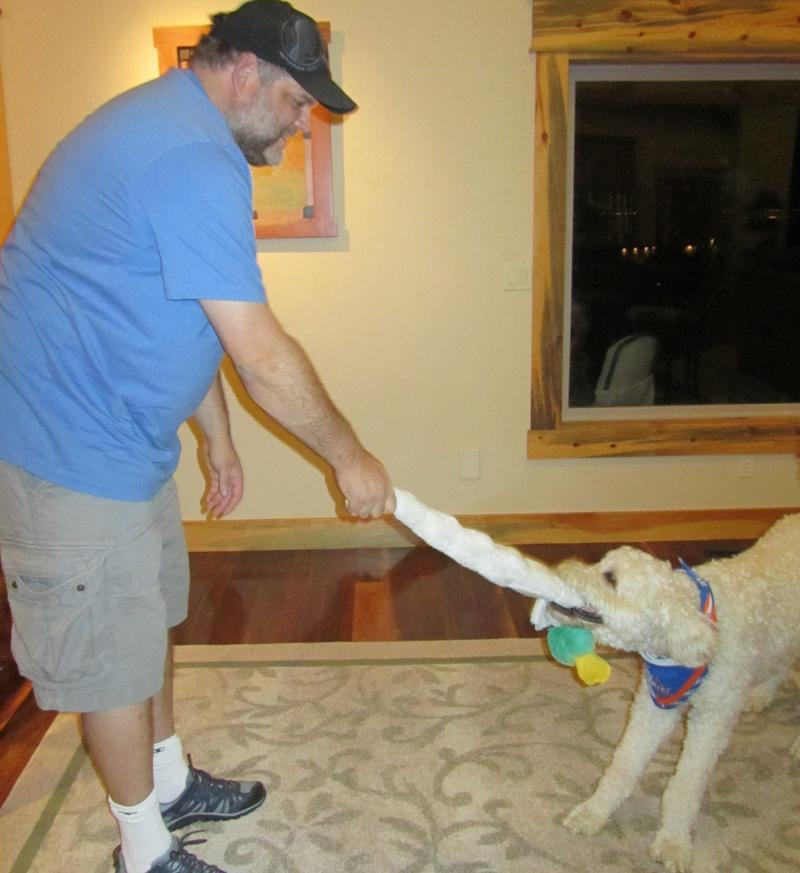 Dan Sperry is seen playing with his service dog, Awescar.