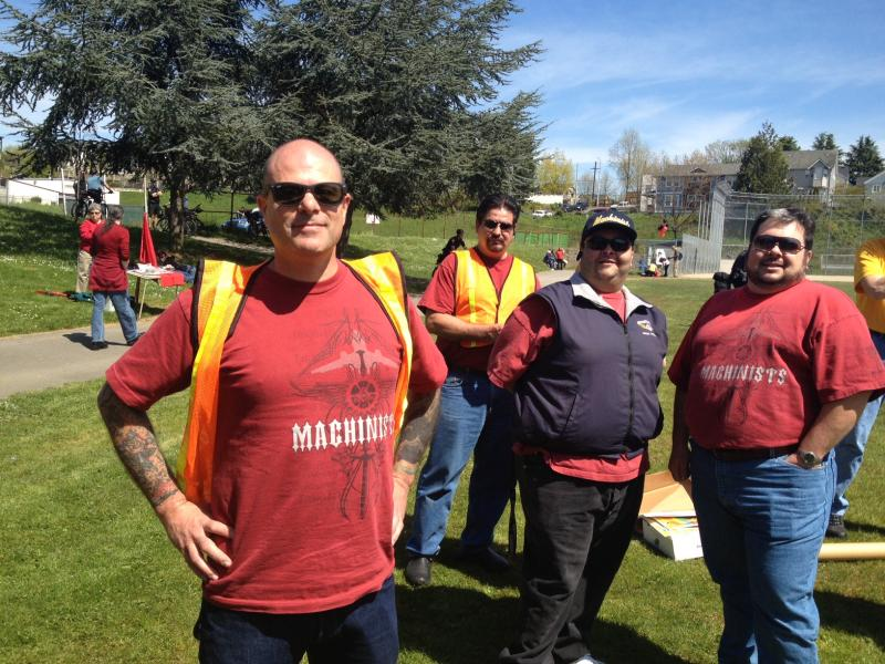 """We think having people come in properly to the country here and work. They contribute to the economy here … Allow them a good path to do it correctly, legally,"" said Paul Shubert, left, speaking on behalf of a group of Boeing Aerospace Machinists."
