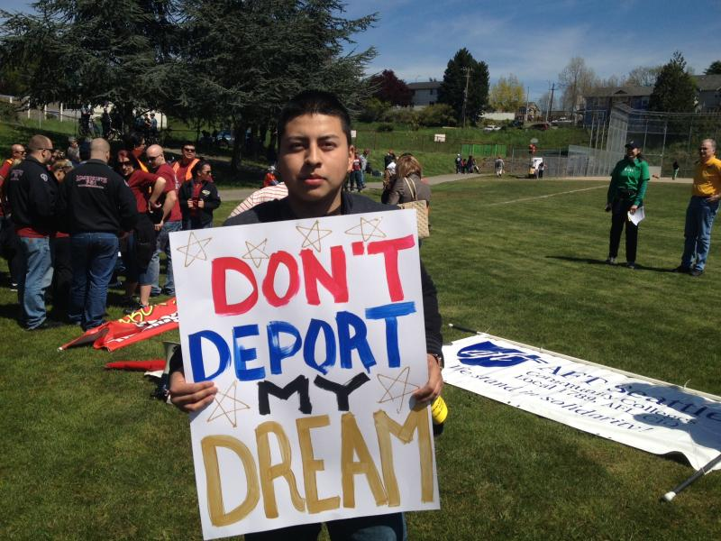 """I'm here because I used to be an immigrant. I became a U.S. citizen now. I'm here for people's rights—for them to start having better jobs, for the economy, to support everybody and come forth like a family,"" said David Riojas, 23."