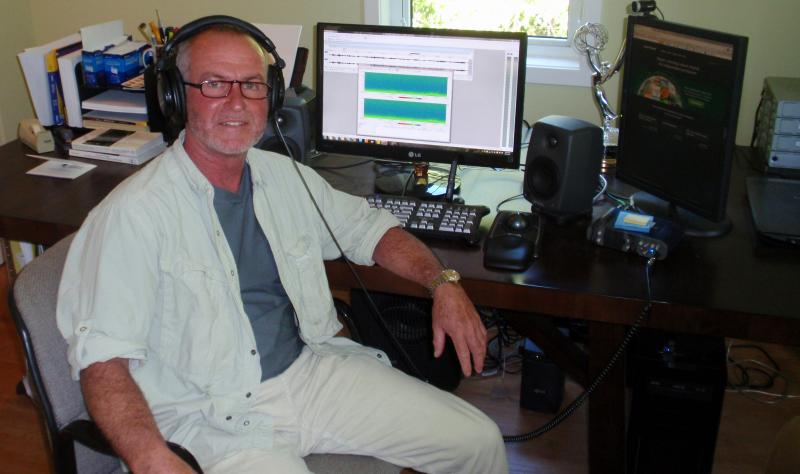 "Gordon Hempton edits his ""greatest hits"" at his home studio in Indianola, Washington."