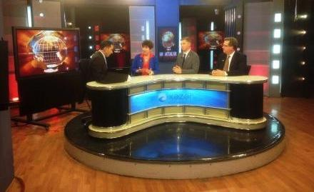 Washington state Senator Pam Roach appears on Azerbaijani television during a trip in May to strengthen relations between the U.S. and Azerbaijan.