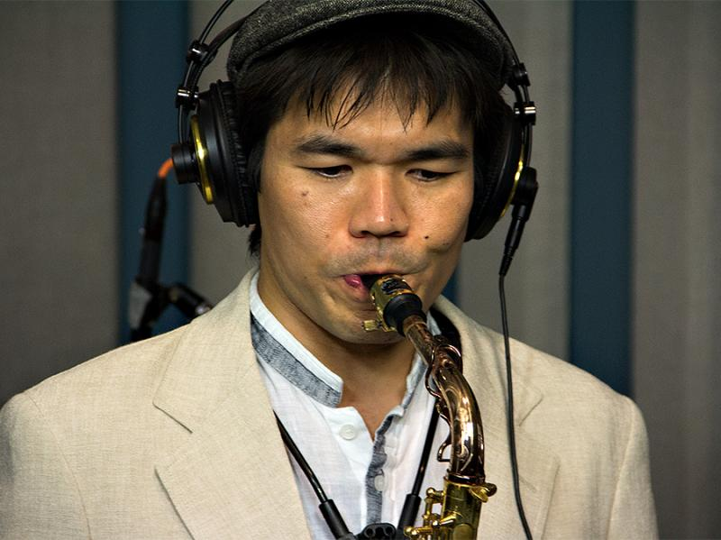 Yosuke Sato performs with Gregory Porter in the KPLU Seattle studios on June 21, 2013.